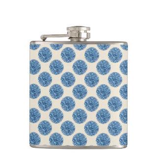 Blue Glitter Faux Foil Confetti Dots Hip Flask