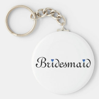 Blue Glitter Heart Personalized Bridesmaid Basic Round Button Key Ring