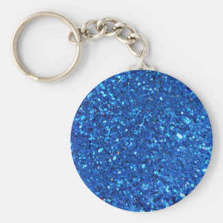Blue Glitter Basic Round Button Key Ring