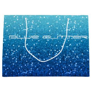 blue glitter large gift bag