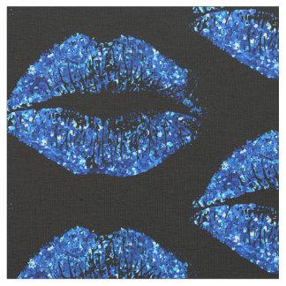 Blue Glitter Lips #2 Fabric