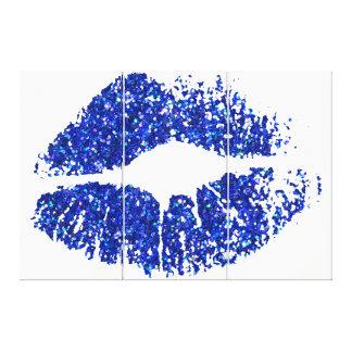 Blue Glitter Lips Canvas Print