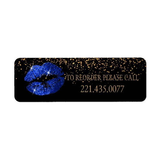 Blue Glitter Lips - Reorder Return Address Label