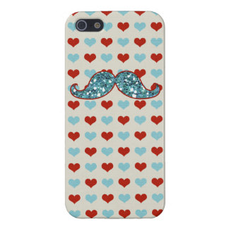 BLUE GLITTER MUSTACHE CUTE BLUE AND RED HEARTS CASE FOR iPhone 5