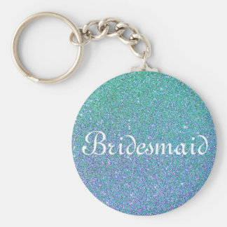 Blue Glitter Personalized Bridesmaid Basic Round Button Key Ring
