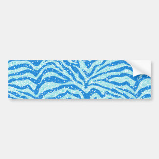 Blue Glitter Print Zebra Stripe Bling Pattern Bumper Sticker