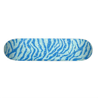 Blue Glitter Print Zebra Stripe Pattern Skate Deck