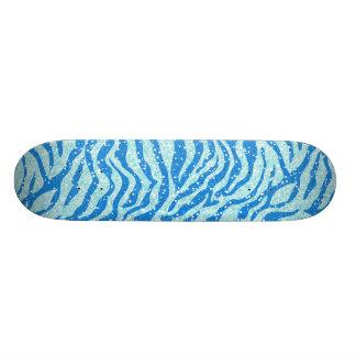Blue Glitter Print Zebra Stripe Pattern Skateboard Deck