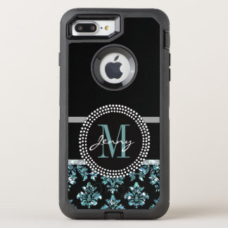 Blue Glitter Printed, Black Damask OtterBox Defender iPhone 8 Plus/7 Plus Case