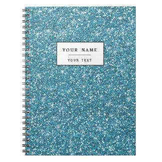 Blue Glitter Printed Notebooks