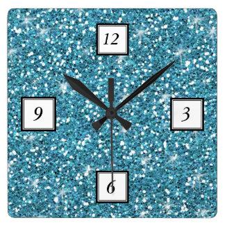 Blue Glitter Printed Square Wall Clock
