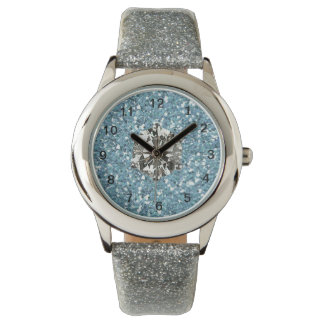 Blue Glitter Rhinestone Style Glam Girl Watch