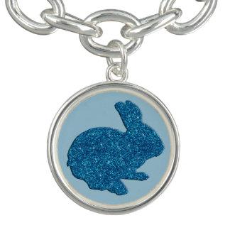 Blue Glitter Silhouette Bunny Charm Bracelet