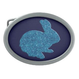Blue Glitter Silhouette Easter Bunny Belt Buckle