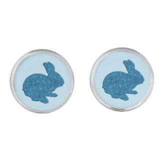 Blue Glitter Silhouette Easter Bunny Cufflinks Silver Finish Cufflinks
