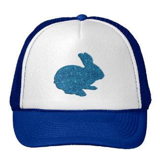 Blue Glitter Silhouette Easter Bunny Hat
