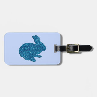 Blue Glitter Silhouette Easter Bunny Luggage Tag