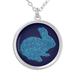Blue Glitter Silhouette Easter Bunny Necklace