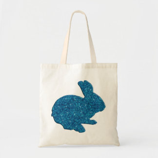 Blue Glitter Silhouette Easter Bunny Tote Bag