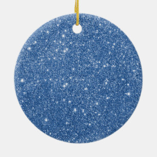 Blue Glitter Sparkles Ceramic Ornament