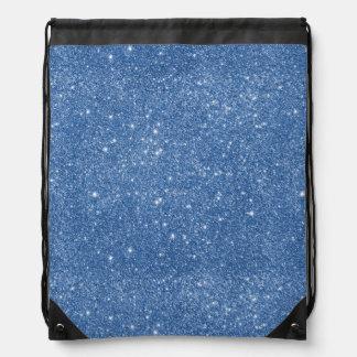 Blue Glitter Sparkles Drawstring Bag