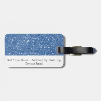 Blue Glitter Sparkles Luggage Tag