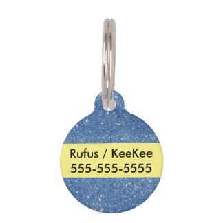 Blue Glitter Sparkles Pet ID Tag