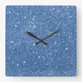 Blue Glitter Sparkles Square Wall Clock