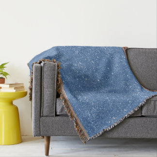 Blue Glitter Sparkles Throw Blanket