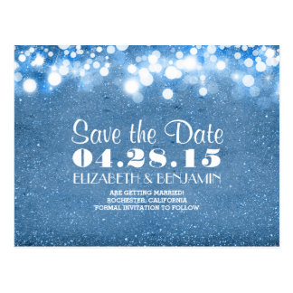 blue glitter string of lights save the date postcard
