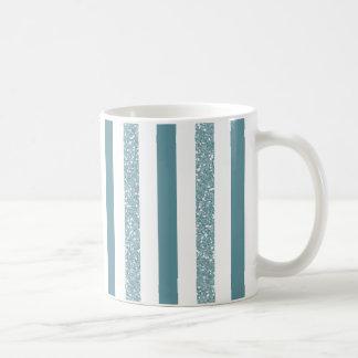 Blue Glitter Stripes Mug