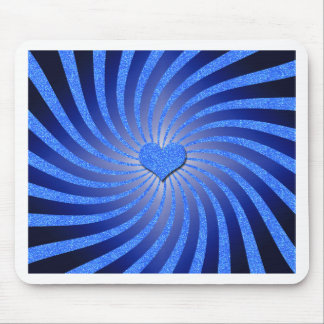 Blue Glitter Sunburst with Center Heart Mouse Pad