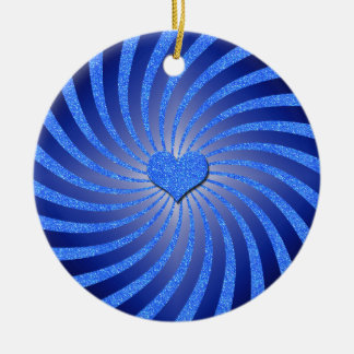 Blue Glitter Sunburst with Center Heart Round Ceramic Decoration