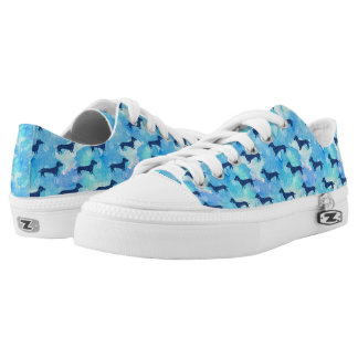 Blue Glitter Watercolor Dachshund Pattern Low Tops