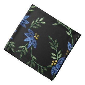 Blue Glittery Flowers on Black Background Bandana