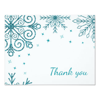 Blue Glittery Snowflake Winter Wedding Thank You 11 Cm X 14 Cm Invitation Card