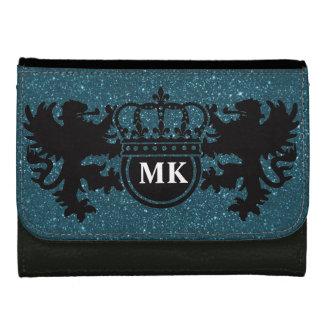 Blue Glitz Lion Crest Monogram Women's Wallet