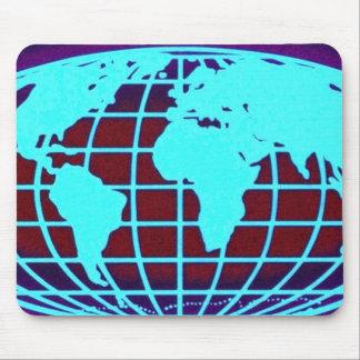Blue globe grid over black background mouse pads