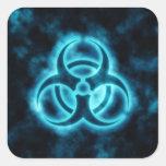 Blue Glow Biohazard Symbol Sticker