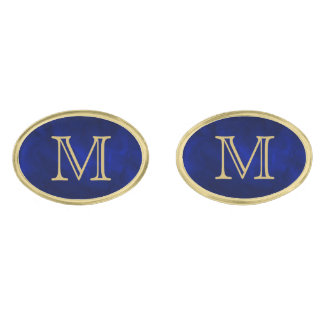 Blue Glow Gold Monogram Gold Finish Cuff Links
