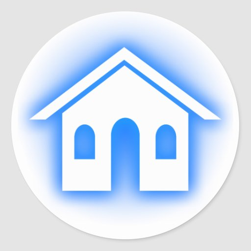 blue glow home round stickers