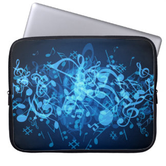 Blue Glow Music Notes Pattern Laptop Sleeve