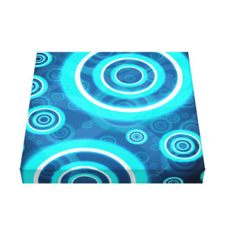 Blue Glowing Cosmic Rings Canvas Print