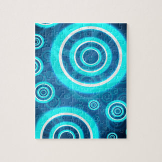 Blue Glowing Cosmic Rings Jigsaw Puzzle
