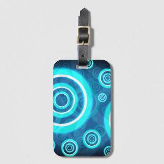 Blue Glowing Cosmic Rings Luggage Tag