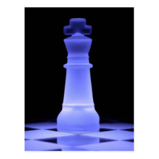 Blue Glowing King Chess Piece Postcard