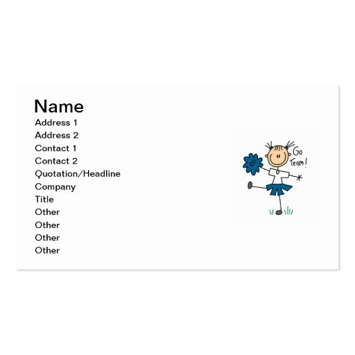 Blue Go Team Cheerleader T-shirts and Gifts Business Card Templates
