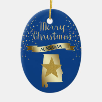 Blue Gold Alabama Star Ceramic Ornament