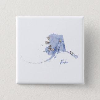 Blue & Gold Alaska State Map 15 Cm Square Badge