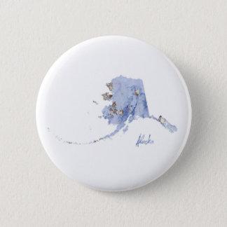 Blue & Gold Alaska State Map 6 Cm Round Badge